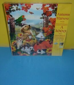 "SunsOut Jigsaw Puzzle Autumn Harvest 1000 piece 20x27"" Bunny Cat Lab Dog Birds"