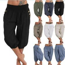 UK Womens Ladies Leggings Trousers Harem Yoga Pants Plus Size Wide Crop Boho