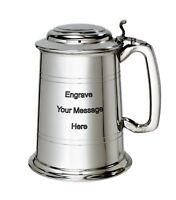 NEW Personalised 1 Pint Lidded Polished Pewter Tankard Any Message Engraved