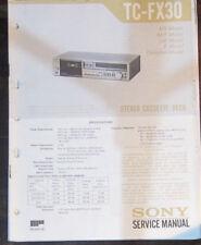 Sony TC-FX30 registratore a cassette Servizio di Riparazione Officina Manuale (copia originale)