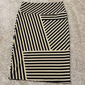 LulaRoe Black& Tan Striped Cassie Pencil skirt XS