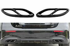 Set Schwarz Chrom Edelstahl Auspuffblende Abdeckung für Mercedes W177 W205 W213