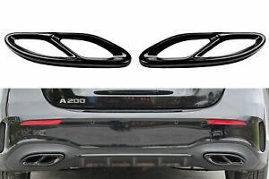 Set Nero Cromo Acciaio Inox Cappa di Scarico Copertura Per Mercedes W177 W205 A2