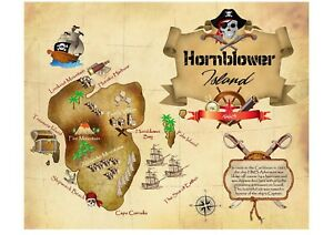 Shipwreck Island Personalised Treasure Map Party Gift Family Name Novelty Scroll