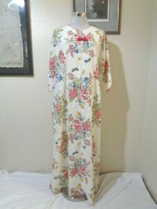 70s FASHION BRAND BY I. APPEL WHITE/PINK/BLUE FLORAL BUTTERFLY ZIP FRONT CAFTAN