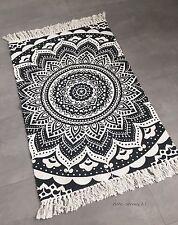 Läufer Mandala Muster Boho Boheme Baumwolle Beige weiß Teppich Neu 60x90 cm