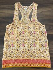 Joie XS Women's 100% Silk Racerback Tank Yellow Red Geometric  011