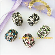 5Pcs Mixed Crystal Round Leaf 5mm Hole Beads fit European Charms Bracelets 10mm