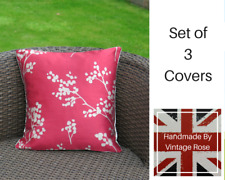 Red Faux Silk Pillows Cushion Covers Home Décor 14x14 12x12 Inch Set of 3