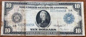 1914 $10.00 BLUE SEAL DALLAS FEDERAL Reserve NOTE Ten