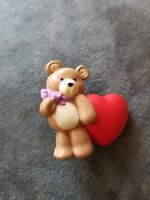 Adorable Vintage ValentineTeddy Bear with Red Heart Pin Brooch