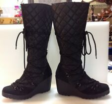 Delicious Drawsting Women's Quilted Style Tall Black Boots Size 10