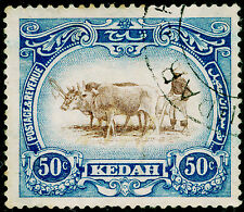 MALAYSIA - Kedah SG36bw, 50c brwn & gry-blue, USED. Cat £26. TYPE I. WMK INV