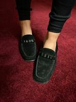Stuart Weitzman Black Suede Slip On Mule Loafer Slides Gem Details 8