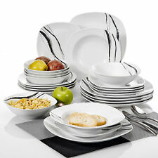VEWEET 24-Pieces Porcelain Dinner Set Home Kitchen Tableware Dessert Plate Bowls