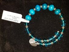 Alex and Ani Enigma Cerulean Wood and Glass Beaded Wrap Bangle/Bracelet *NWT*