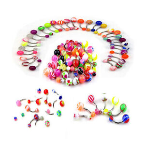 105Pcs/lot Barbell Coating Belly Button Rings Body Piercing Jewelry Color Random