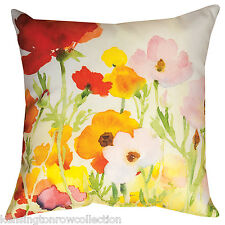 """THROW PILLOWS - """"POPPY FIELD"""" PILLOW - 18"""" SQUARE - DECORATIVE FLORAL PILLOW"""