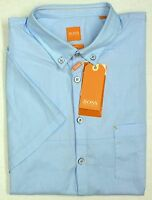 NWT $95 Hugo Boss Slim Fit Blue SS Pocket Shirt Mens Size XL Short Sleeve NEW