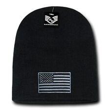 Black Usa Flag Tonal Patch Us American Patriotic Knit Short Beanie Cap Hat