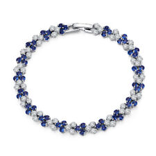 Luxury TT 18K White Gold Filled Clear and Royal Blue Wedding Bracelet (CBF35)NEW