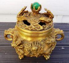 Brûle parfum Encens Censer laiton Dragon et perle de Jade verte provenance Chine