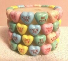 Valentines Conversation Candy Hearts Pillar Candle No Box