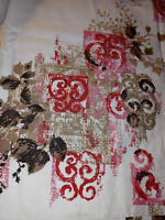 Mid Century Pinch Pleated Drape Curtain MCM Gold Pink Red Flower Scroll 4 Panels