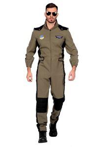 Herren Kostüm Overall Pilot Jagdflieger Jetpilot Kampfpilot Army Film Flieger