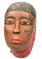 Arte Africano tribal - Antico Maschera Di Famiglia Baule - Legno Denso - 19 CMS