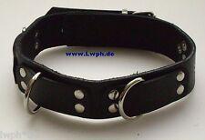 1 Halsband Gothic schwarz mit 3 schmuck en Ringen 3 cm breit bestes Leder LWPH