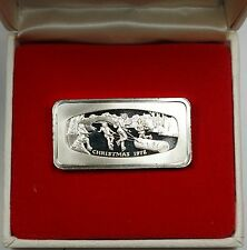 1000 Grain Ingot of Solid Sterling Silver, Commemorating Christmas 1972