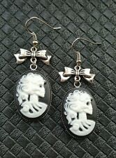 DEATH SKULL CAMEO & BOW EARRINGS GOTHIC STEAMPUNK ROCKABILLY HALLOWEEN HORROR