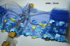 21cm 1YD blue gauze beautiful shiny silk floral lace fabric embroidery lace trim