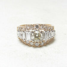 Estate 14K Yellow Gold 0.50 Ct Round Brilliant Cut Diamond Ring 1.50 Cts Total