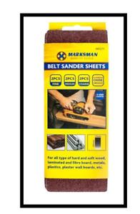 6pc Assorted Belt Sander Sheets 75mm x 457mm Fine Sanding Sheet Marksman al wood