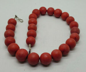 VINTAGE CHINESE DYED RED CORAL BEADS NECKLACE 228 G.
