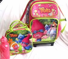 "TROLLS POPPY,GUY DIAMOND,& BRANCH 16"" ROLLING BACKPACK & MATCHING LUNCHBOX-NEW"