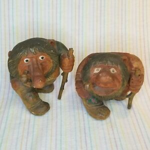 Vintage Anton Sveen Norwegian Hand Carved Wooden Troll Figures Norway Birchwood