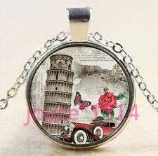 silver Glass Chain Pendant Necklace #4491 Leaning Tower of Pisa Cabochon Tibetan