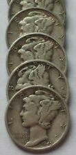 Mercury Dimes - Lot of (5),1930's/40's dates 90% Silver Mercury Dimes