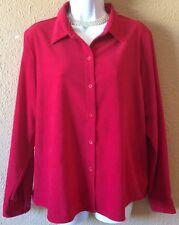 Women's Liz Claiborne Button Up Red Blouse Petite Large Shirt Soft