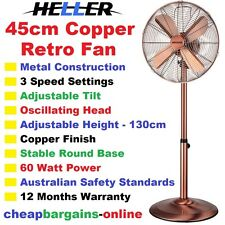 HELLER 45cm PEDESTAL FAN RETRO COPPER FAN ADJUSTABLE HEIGHT 3 Speed Oscillating