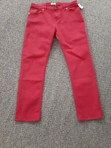 TOMMY HILFIGER red regular rise straight lana denim men trousers size W27 L32