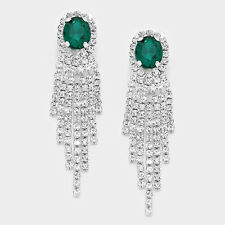 "2.25"" green crystal dangle clip on earrings non pierced bridal prom pageant"
