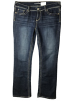 Women Maurices Plus Blue Distressed Bootcut Mid rise Jeans Size  14 Long