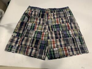 NWT Polo Ralph Lauren Plaid Patch Work Madras Swim Trunks Board Shorts Mens 2XLT