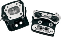S & S Cycle Black Low Compression 82cc Cylinder Heads Stock Bore 106-4570