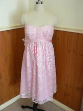 NEW ALFRED ANGELO DESIGNER DRESS LADIES SIZE 12 PINK LACE STRAPLESS SHIMMERY