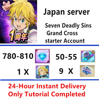 [Instant] JP 780-810 Gem 50-55 SSR Seven Deadly Sins Grand Cross Starter account